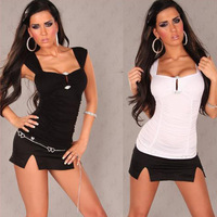 New 2014 Summer Fashion Sexy Women Solid Wrinkle Strapless Tank Vest Tops With Rhinestone, Black, White, Size Free