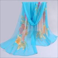 Flower Carpet Lady Multi-Color All-season All-match Chiffon Soft Wrap Shawl Scarves Silk Scarf Women#65909