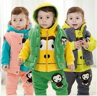 New Arrive High Quality Boys and Girls Hoodies Casual Set Thick Fleece Three-piece Suit Warm and Confortable 80/90/100cm