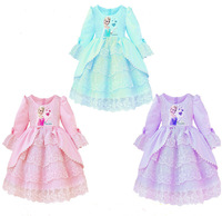 2014 new arrive frozen dress, long sleeve lace dress, children's clothes, European and American fashion girls frozen dress