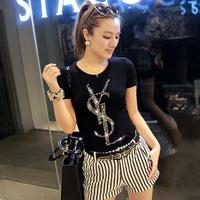 Free Shipping 2014 Women Shirts Letter Printing Cotton Tee Tops Slim Fashion Women T Shirts Casual T-shirts S-XL Plus Size 4792