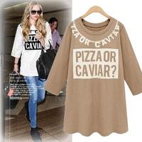 Autumn fashion new arrival fashion loose plus size letter upperwear women's top three quarter sleeve shirt basic t-shirt