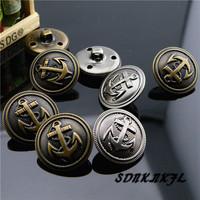 Button quality metal copper anchor buttons suit overcoat outerwear decoration button 21mm 2 colors mix