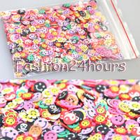 New 1000Pcs Mixed Design Skull/Flower/Smile 3D Cute Fimo Slice Nail Art Tips Stickers Nail Art Decoration