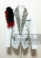 2014 new male costume New arrival ds male black feather royal white blazer fashion men costume bodysuit