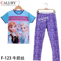 2014 Christmas New Year 8T- 12T sports sets child 2 piece suit Pyjamas Milk silk three-dimensional printing frozen pyjamas