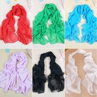 Flower Carpet Lady Multi-Color All-season Pure Color Chiffon Soft Wrap Shawl Silk Scarf Scarves Women#65912