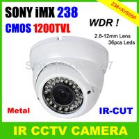 CCTV Dome Type IR Camera CMOS 1200TVL OSD Menu WDR IR-CUT 36pcs LEDs 2.8-12mm Lens Indoor Outdoor Using