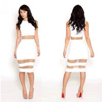 Manufacturers supply vestidos de festa new knee length bandage dress sexy transparent gauze sexy dress S M L Dropship RYT459