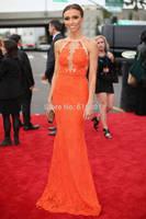 Giuliana Rancic Lace Mermaid Organge Grammys 2014 Celebrity Red Carpet Dresses