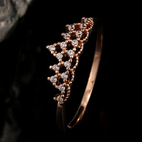 Wholesale Korean Classic Crown Molding Elements Rose Gold White Gold CZ Rings For Women