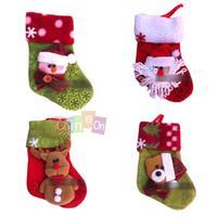 5PCS Christmas Stocking Cartoon Print Santa Claus Snowman Christmas Ornaments