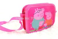 Free Shipping 48pcs Peppa Pig purse cartoon kids snack pack single shoulder satchel