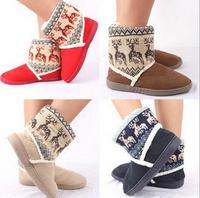 2014 new Fashion + deer winter Snow boots Warm thick Plush boots big yards women rain ankle boots botas femininas  FREE SHIPPING