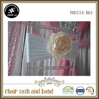 Free Shipping !100pcs Lycra Chair Bands&Sash with Plastic Flower ,Double Layer Lycra Bands&Sash for Weddings Events Decoration