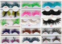 (Minimum order 50 pairs)wholesale 45 Colors party false eyelashes feather False eyelashes Halloween feather eyelashes