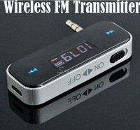 Wireless 3.5mm Car FM Transmitter For iPod iPad iPhone 4 4S 5 Galaxy S2 S3 HTC Free Shipping & Drop Shipping