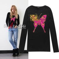 2014 autumn New arrival sequined butterfly slim long sleeve cotton t shirt women 2colors S,M,L,XL