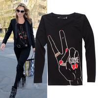 2014 New arrival diamonds love hand pattern fashion o-neck long sleeve t shirt women 2colors S,M,L,XL
