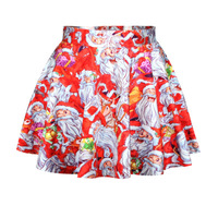 East Knitting R48 New 2014 Vintage Autumn Winter Red Skirts Women's Pleated Skirts Father Christmas Print Sexy Skirt Saias