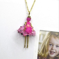 New Arrival the grid yarn Dress Doll Pendants Necklace hot sale Sweater chain or bag charms  Fluffy skirt series Retail