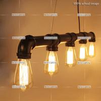 Q-90 Simple Modern Water pipe Industrial Vintage Style Black Pendant Lamp Edison bulbs Pendant Light Metal E27 Free Shipping