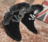 New 2014 Winter Brand Women Rabbit Fur Suede Ankle Boots Flat Heels Rhinestone Skull Shoes Sneakers Free Shipping