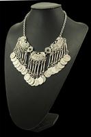 Bohemian Fringe Coin Collar Statement Necklace, Boho, Gypsy, Antalya, Ebony, Silver, Festival, Coachella, Turkish, India