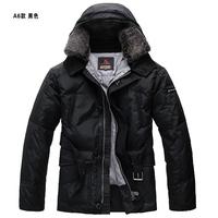 rabbit fur collar mid long model  man navy blue duck down hooded coat  down jacket