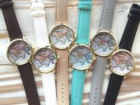 New Fashion World Map Watch Geneva Watches Women Dress Watches Quartz Wristwatch Watches AW-SB-1132