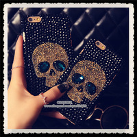 for iPhone4 4s 5 5S 6 4.7 plus 5.5 for samsung galaxy note2 3 S4 Diamond Rhinestone Bling Crystal Handmade Skull Case Cover