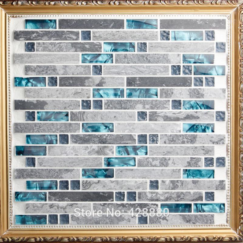 Telha de vidro Backsplash cozinha projeto colorido Crystal Glass & Stone misture mosaico de mármore adesivos de parede de banho pavimento 9805(China (Mainland))