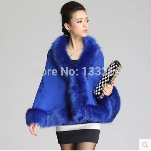 2015 Women's autumn winter fashionable fur shawl jacket Cloak knitting cardigan Restoring ancient ways wool coat(China (Mainland))