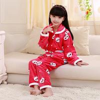 2014 Rushed Flannel Kids Pajamas Pijama Infantil Fannel Pajamas For Children Direct Sales Home Furnishing Mink Girls Sleep Dress