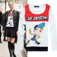 2014 autumn new arrival cartoon slim long sleeve cotton t shirt women 2colors S,M,L,XL