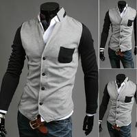 New 2014 Hot Sale Blazer Men Stylish Slim Fit Suit Jacket Single Row Two Button Knitting Blazer Coat Long Sleeve Outwear