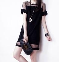 Free Shipping Ladies Summer Party Dress Fashion Net Yarn Splicing Show Thin Short Sleeves Chiffon Women's Dress 12050