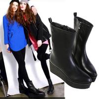 Botas femininas 2014 fashion designer brands thick boots pointed toe high heels platform shoes black boots european style shoes