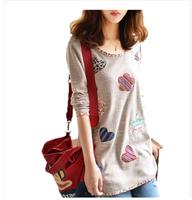 Autumn plus size mm small fresh applique hemming medium-long basic shirt t-shirt