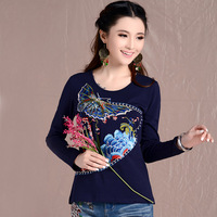 2014 autumn national embroidery trend long-sleeve T-shirt plus size slim 100% cotton embroidered V-neck basic shirt female