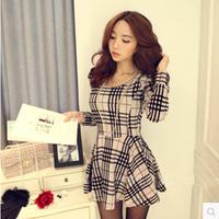 A-line  slim basic  women's slim waist long-sleeve plaid one-piece dress