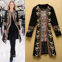 2014 New European And American Retro Fashion Ladies Luxury Embroidery Flowers Overcoat Plus Size Outerwear  F16489