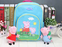 peppa pig backpack+plush toy school bags  lovely blue backpacks schoolbag peppa pig plush