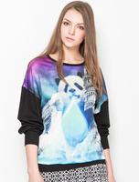 Brand Design 2014 Fashion Women's Panda Print  Full Sleeve Hoodie Sweatshirt Hoodies SML