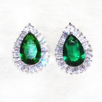 Classic Teardrop Shaped Emerald Stud Earring High Grade Jewelry AAA Zircon 52 Stone Grain Factory Wholesales Fashion Jewelry