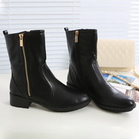 New 2014 Concise Solid Size Zip Flat Women Ankle Boots Fashion Round Toe Pu Leather Plush Lining Autumn And Winter Martin Boots