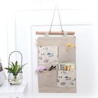 Free shipping BF050 Simple fresh wind cartoon hanging storage bag Organizer Bag Cotton & Linen storage bag 37*23*20cm