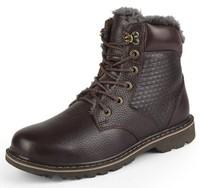 Brand Quality Winter Men's Boots Plus Villus Mens Genuine Leather Shoes 2014 NEW Plus Size (45-48) Outdoor Martin Boots