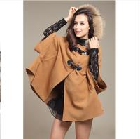 2014 Women wool cloak wool coat overcoat fur collar cloak woolen outerwear cape