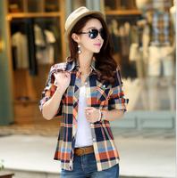 2014 New Fashion Summer Winter Womens Tops Casual Blouse Turndown Collar Long Sleeve Plaids Print Pattern Flannel Shirt M-XXL
